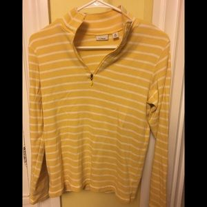 LL Bean Yellow & White Striped Sweater Size M